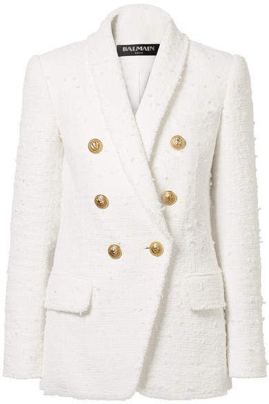 751c7156 Balmain - Double-breasted Bouclé-tweed Blazer - White There's no arguing  that a