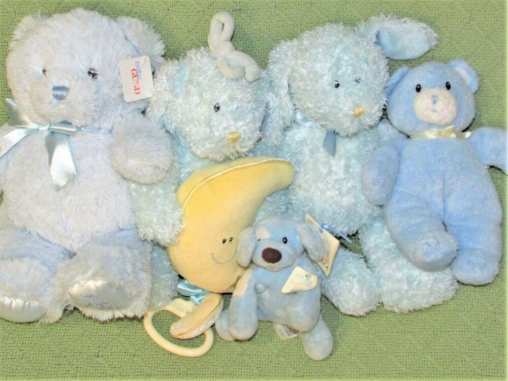 5 Musical Baby Gund Blue Lot Spunky Rattle Duffles Plush Dog 1st
