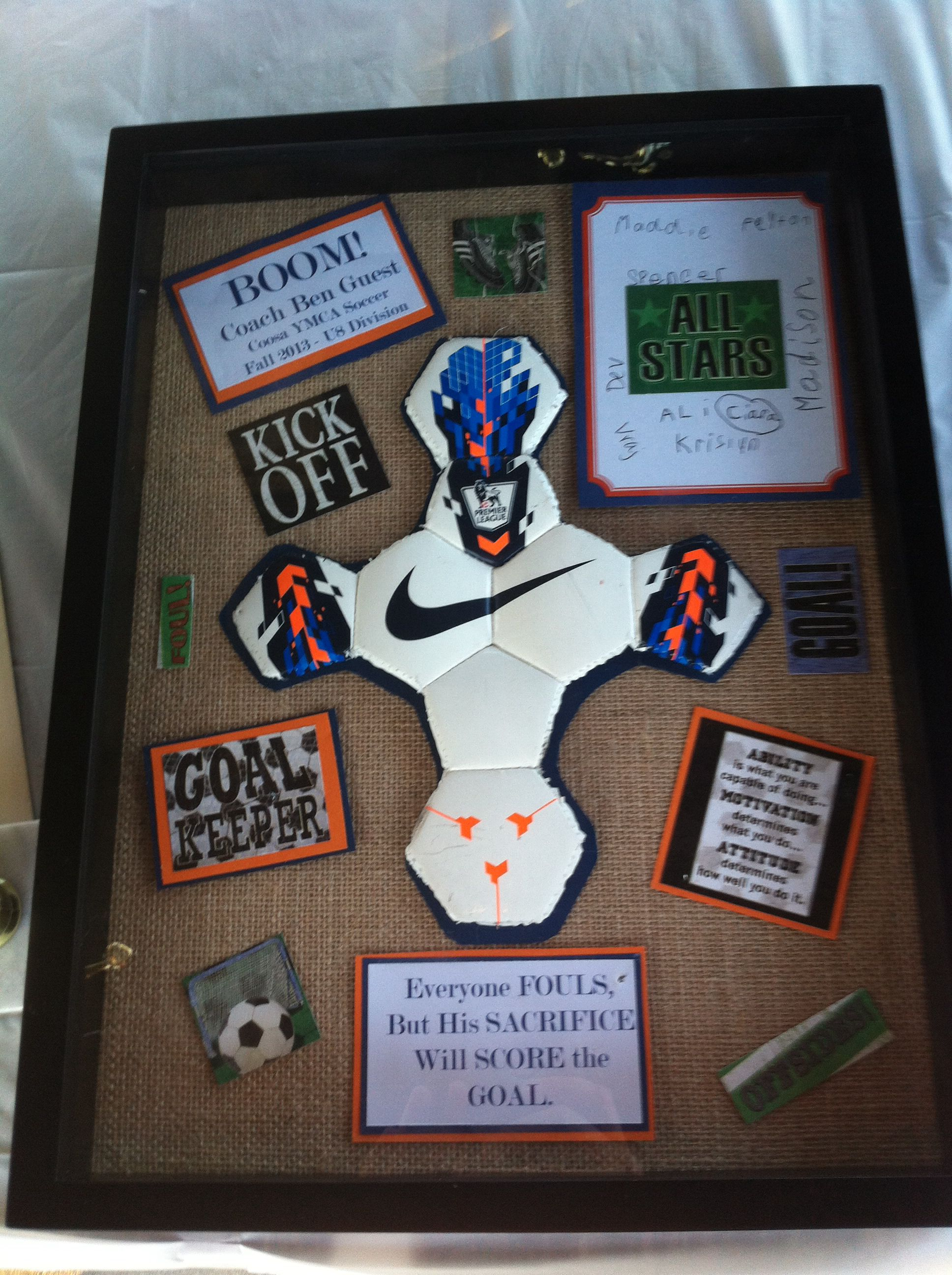 Soccer Coach gift. I also did this in Auburn colors since he and his family are huge AU fans. & Soccer Coach gift. I also did this in Auburn colors since he and his ...