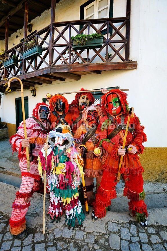 Traditional masks used during the Winter Festivities. Grijó de Parada, Trás-os-Montes, Portugal