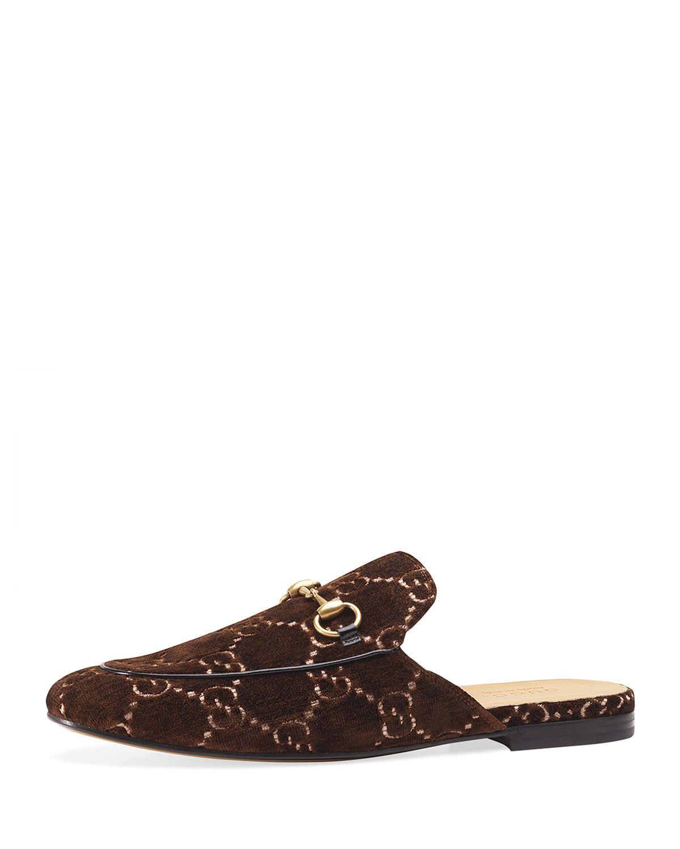 87fb82279 GUCCI MEN'S PRINCETOWN GG VELVET MULE SLIPPERS. #gucci #shoes ...