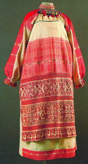 Redwork apron, Russian
