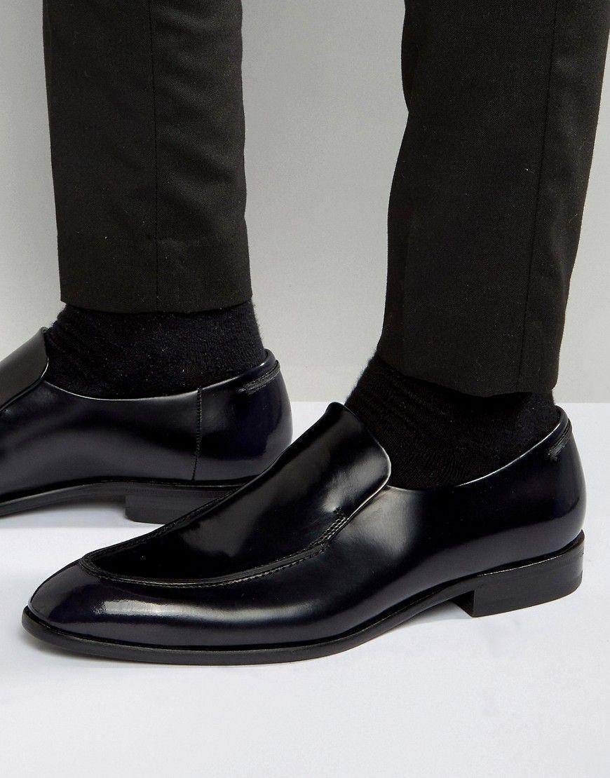 HUGO by Hugo Boss Dressapp Rub Off High Shine Slip On Loafers - Black