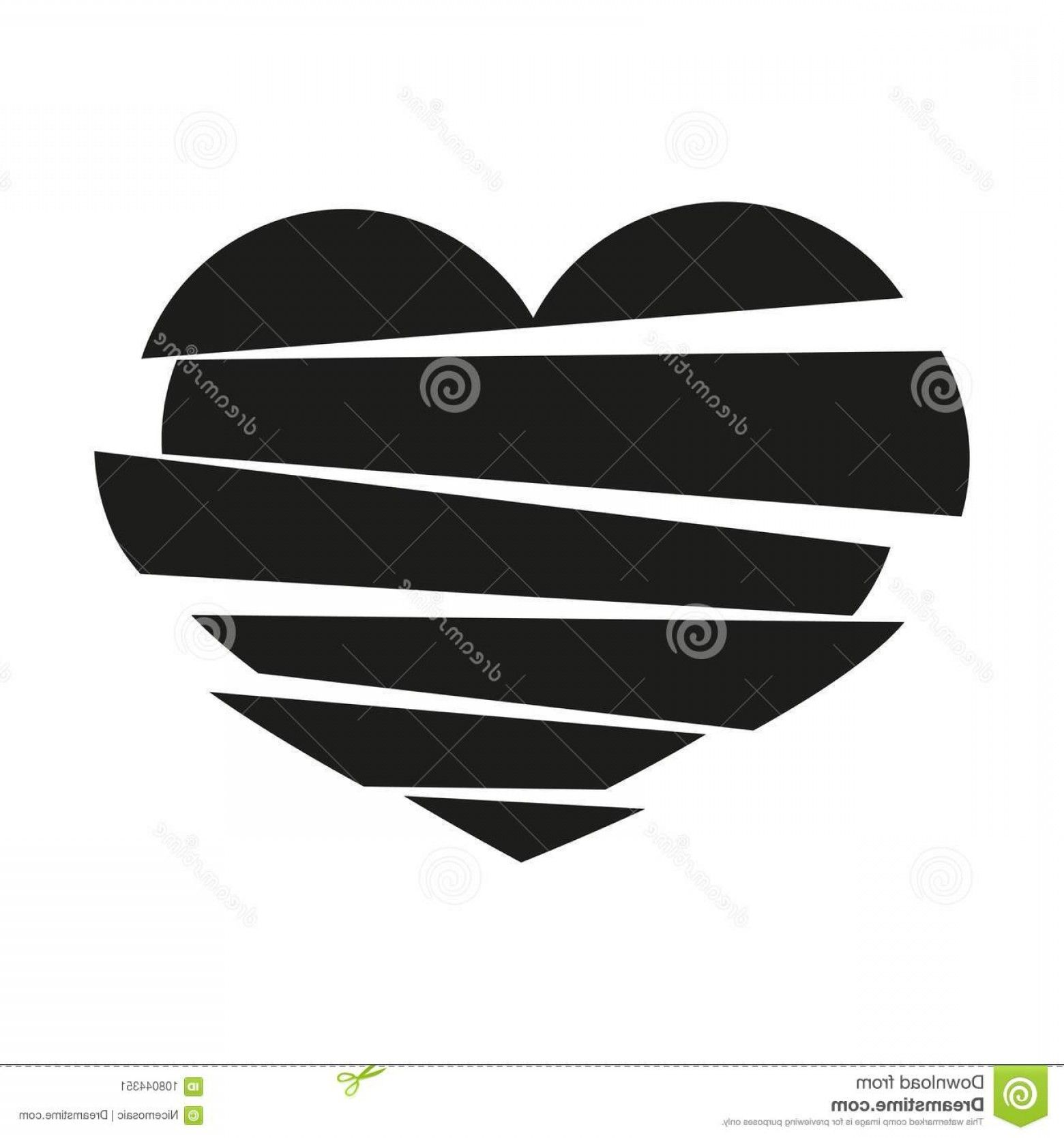 Broken Heart Vector Black Stripes Broken Heart Vector
