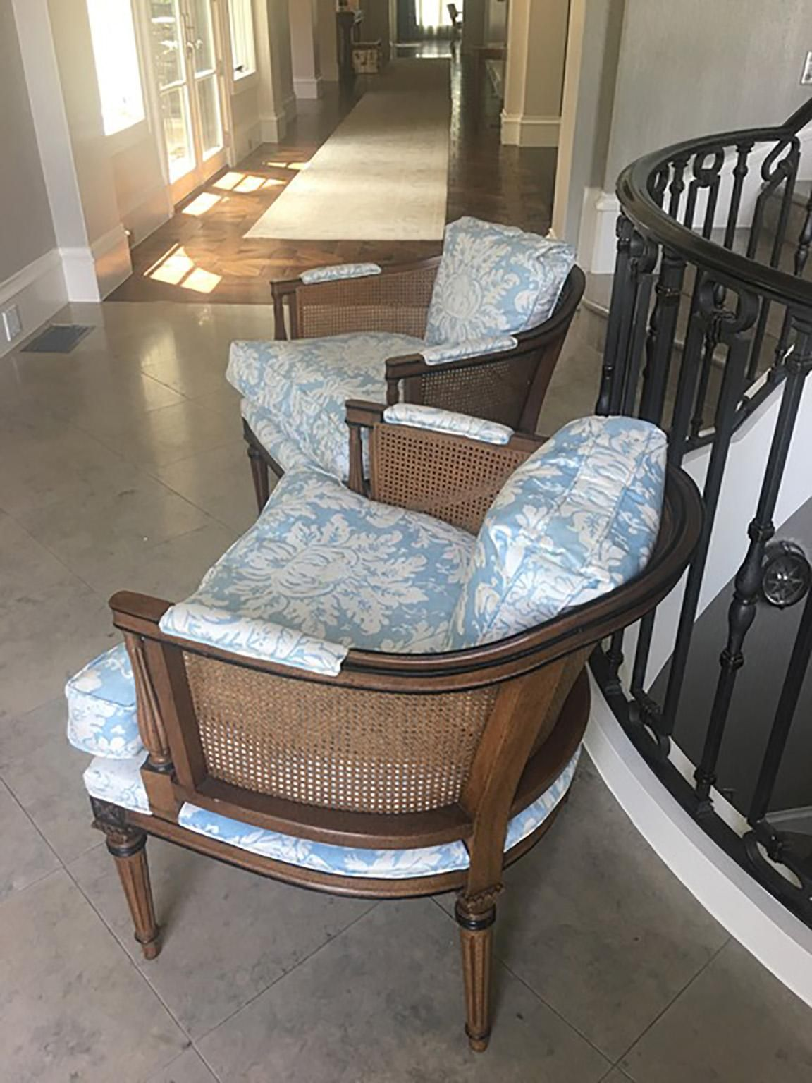 Barrel Back Cane Chairs in Light Floral Blue, a Pair For