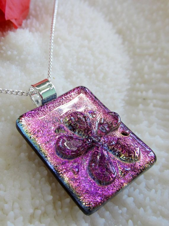 Purple and pink dichroic fused glass Flower by FoxWorksStudio