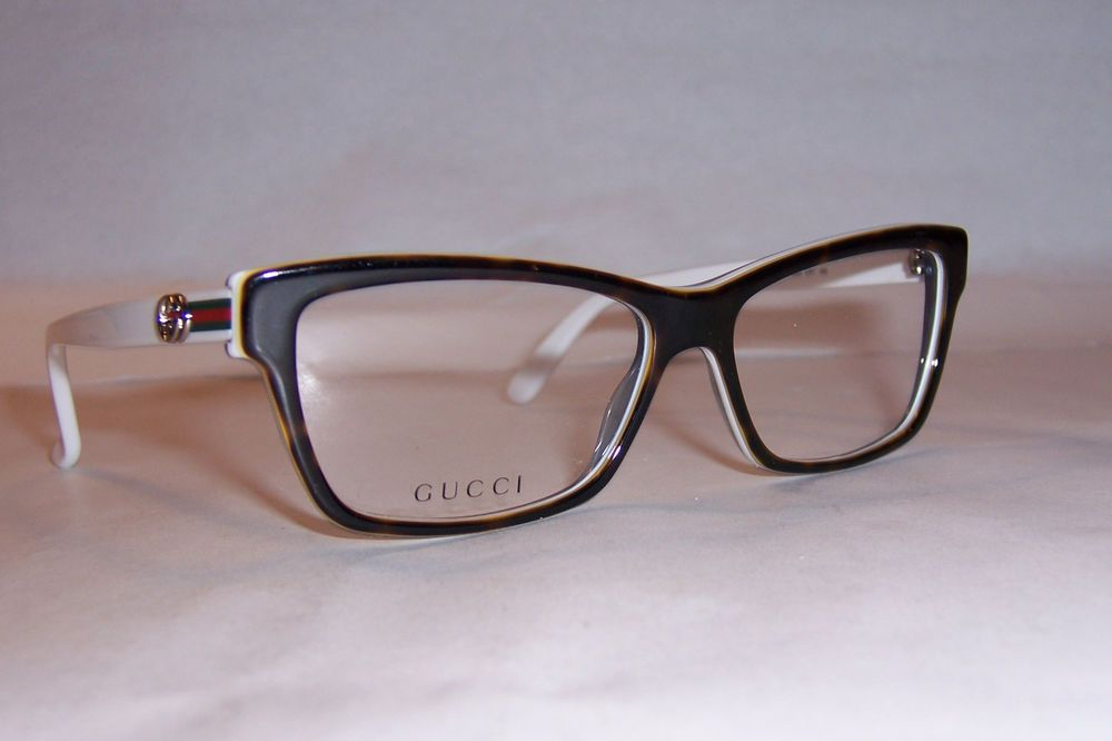 NEW GUCCI EYEGLASSES GG 3562 L9Y HAVANA WHITE 53mm RX AUTHENTIC