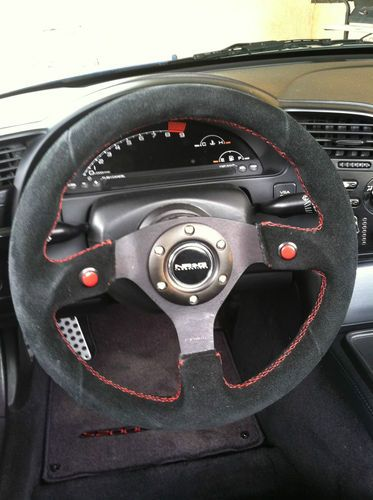 Nrg Steering Wheel 320mm Black Suede W Red Stitching Quick