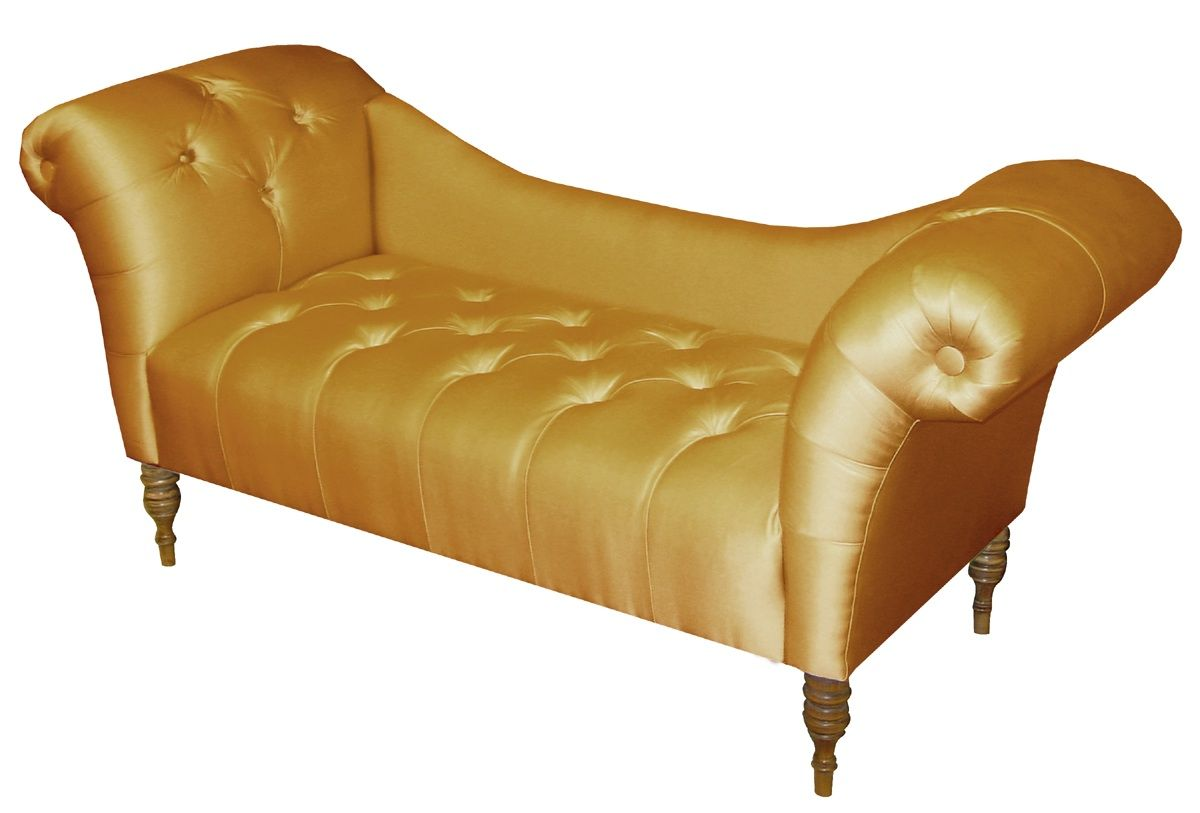 Superb Chaise Lounge In Shantung Aztec Gold .
