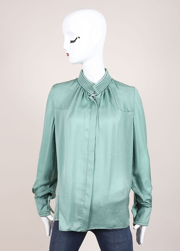 Light Green Silky Pleated Button Down Long Sleeve Blouse