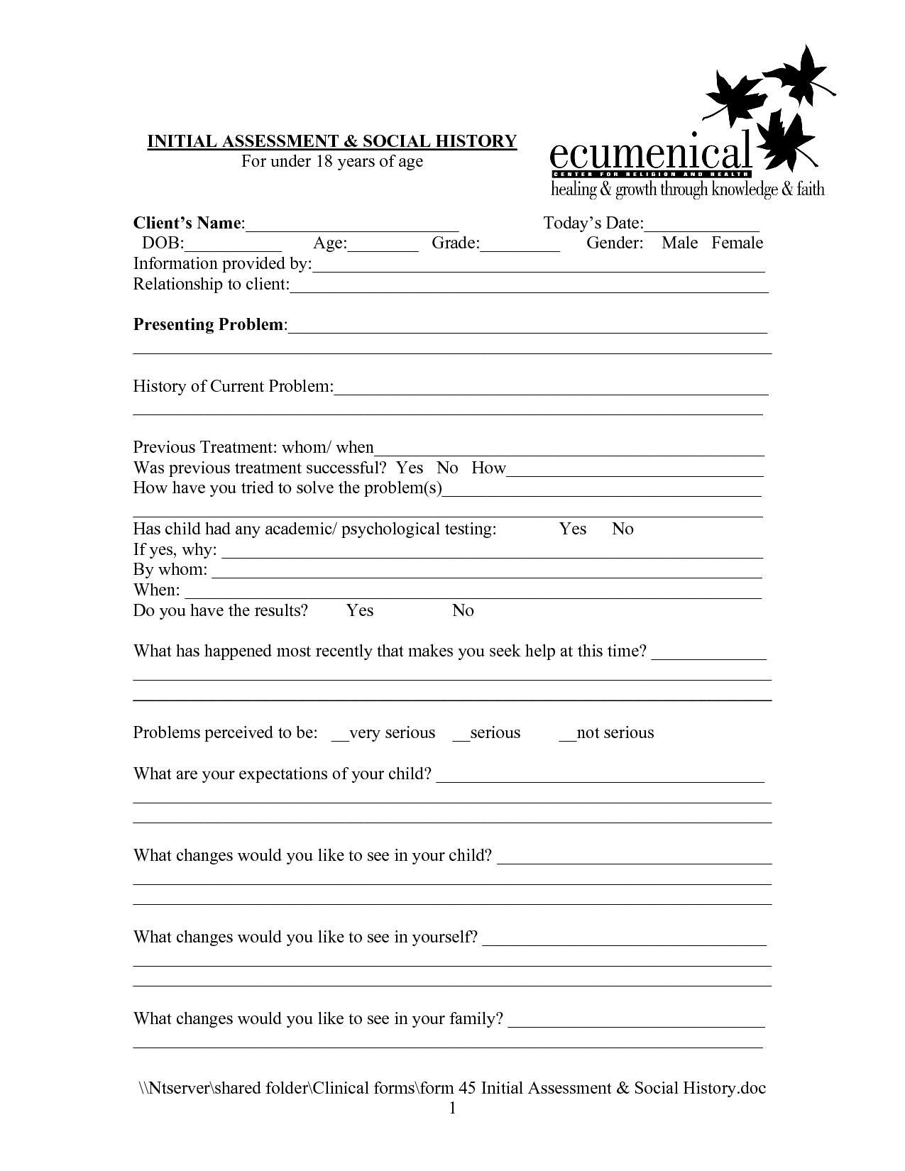 Social Work Intake Form Template  Google Search  Rec Therapy