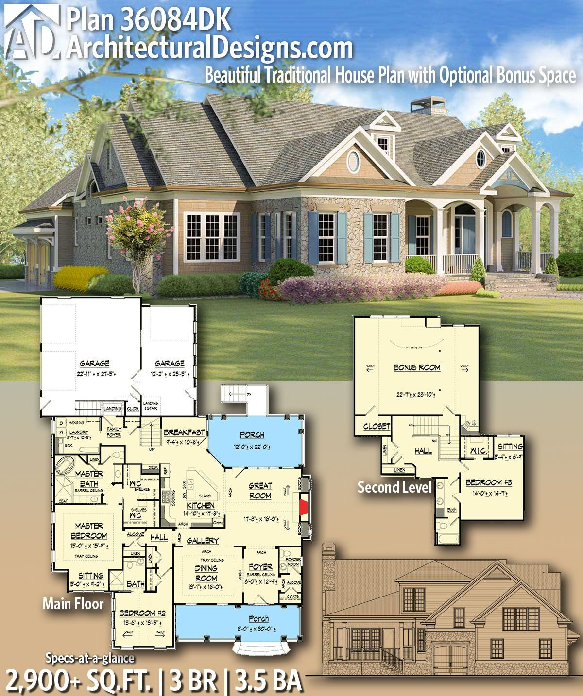 Architectural Designs Home Plan 36084dk Gives You 3 Bedrooms 3 5 Baths And 2 900 Sq Ft Ready When You Ar House Plans Dream House Plans Diy Tiny House Plans