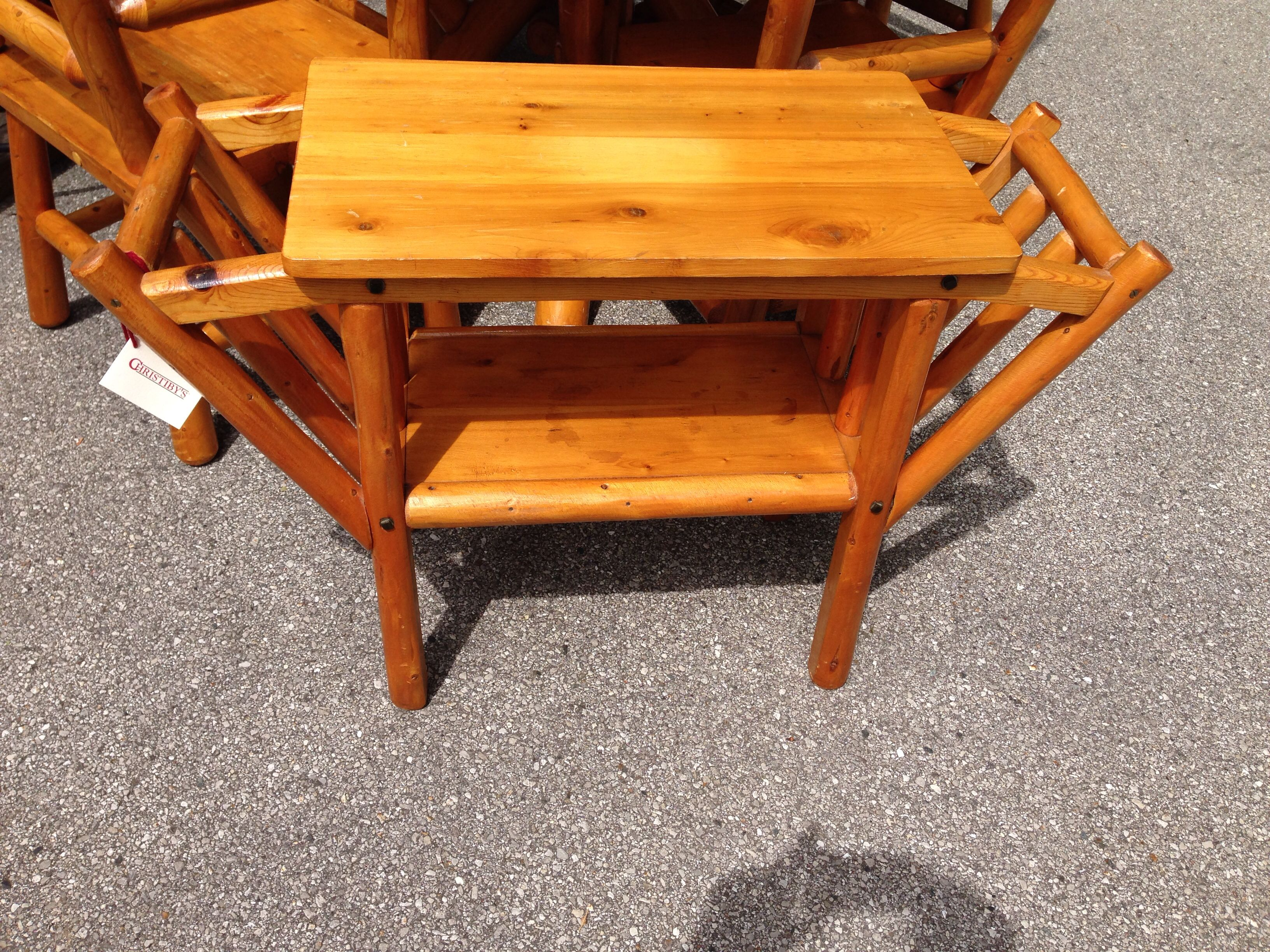 Rittenhouse Cedar Log Furniture,radio Table With 2
