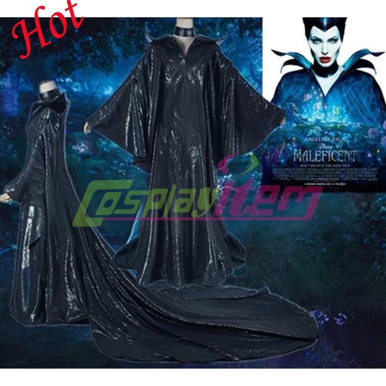 Hot Custom Made Luxe Maléfique Costume Avec Chapeau Angelina Jolie Costumes Noirs Mauvais Reine Halloween Costumes De Cosplay Maléfique Cosplay Costumes Noirs