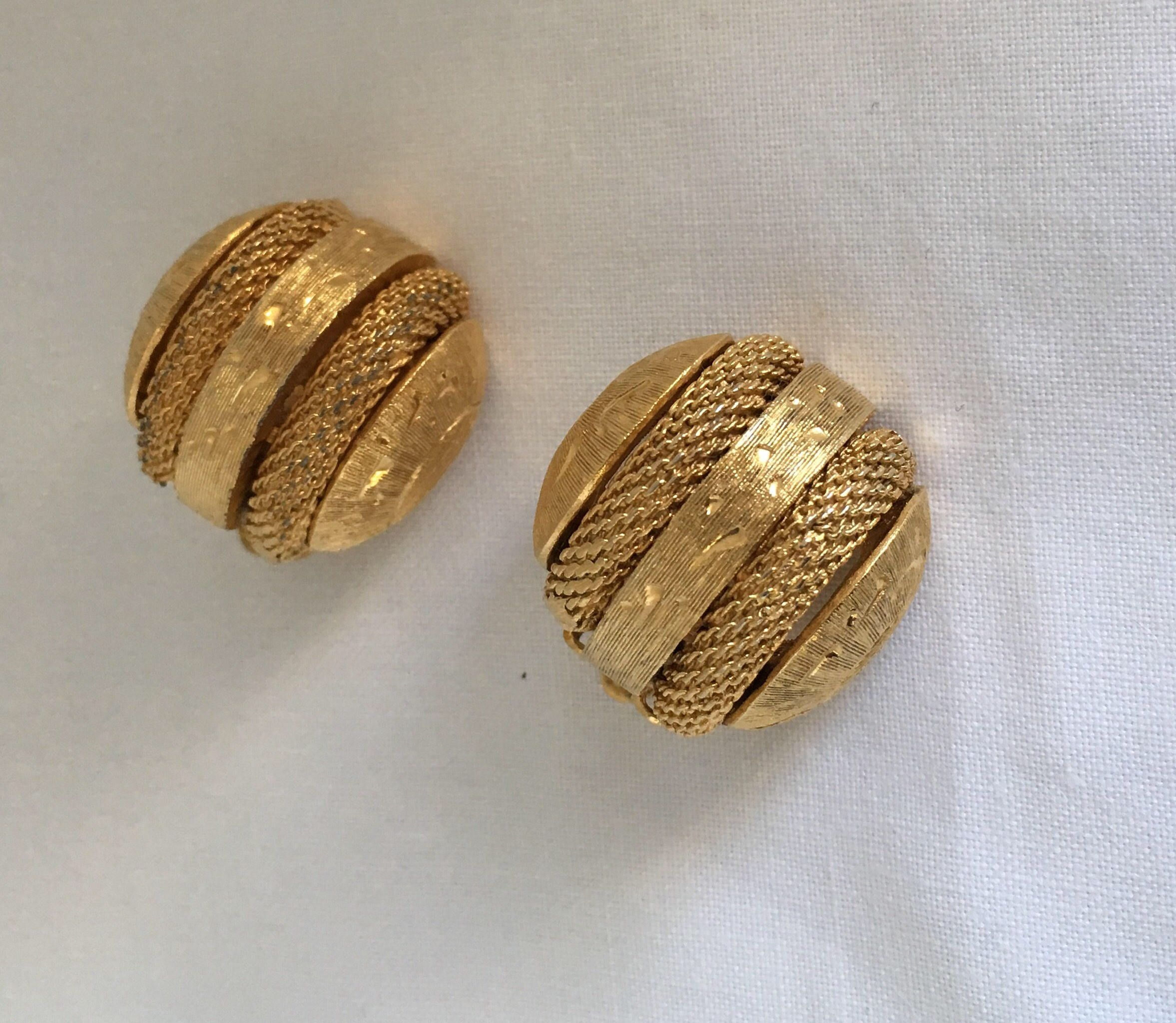 2399c4ee6 Excited to share the latest addition to my #etsy shop: Designer Kramer of  New York Beautiful Clip On Round Dome Yellow Gold Tone Vintage Earrings  Hallmark