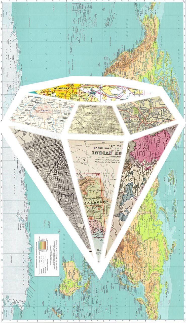 Diamond map collage