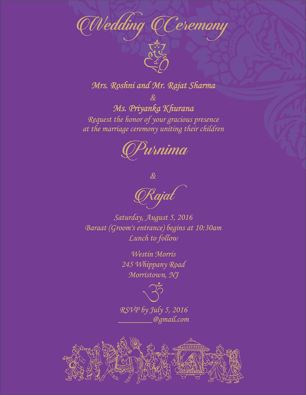 wedding invitation wording for hindu wedding ceremony hindu