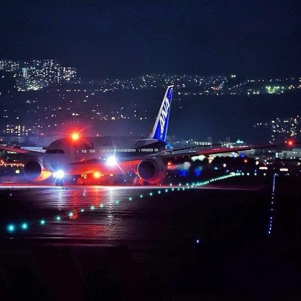 Night Flight All Nippon Airways Boeing 787 Fly Travel Boeing