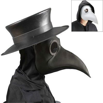 Steampunk Simple white plague doctor bird beak mask cosplay Halloween party prop