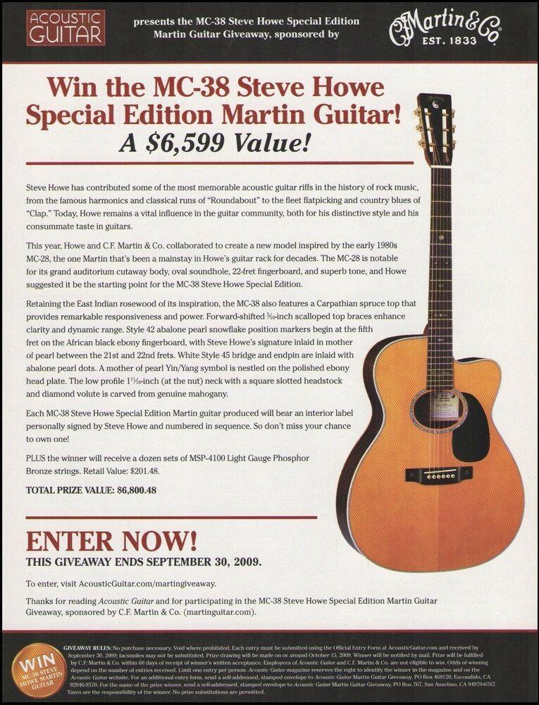 The Steve Howe Signature Martin MC-38 acoustic guitar contest
