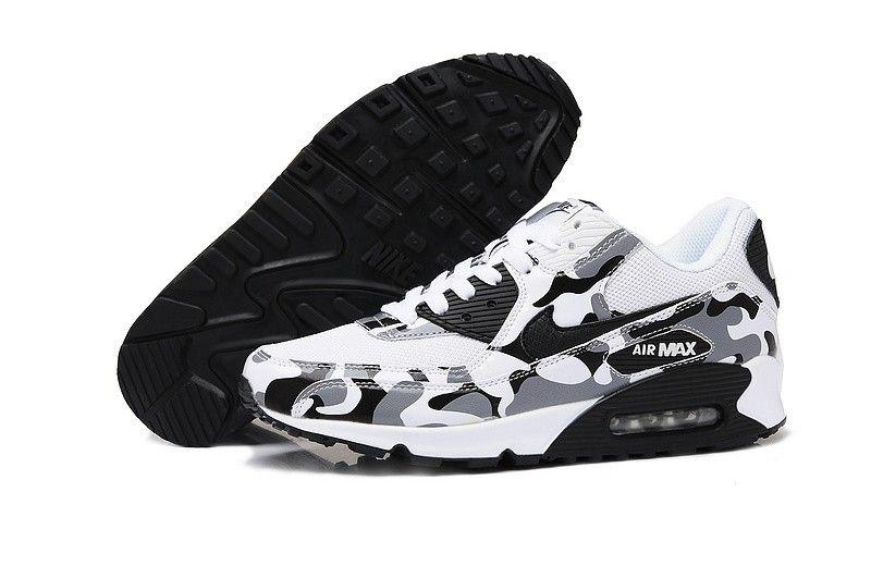 nike air max 90 damesschoenen flower wit / zwart
