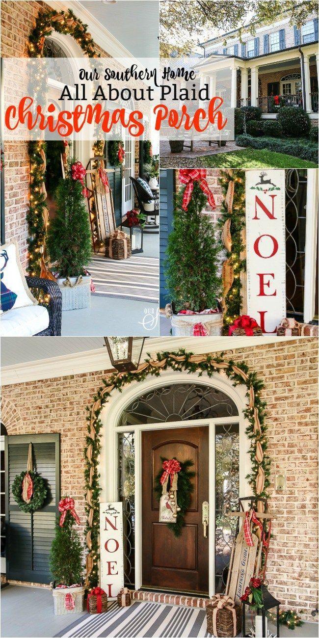 Plaid Christmas Porch Porch Plaid christmas and Christmas porch