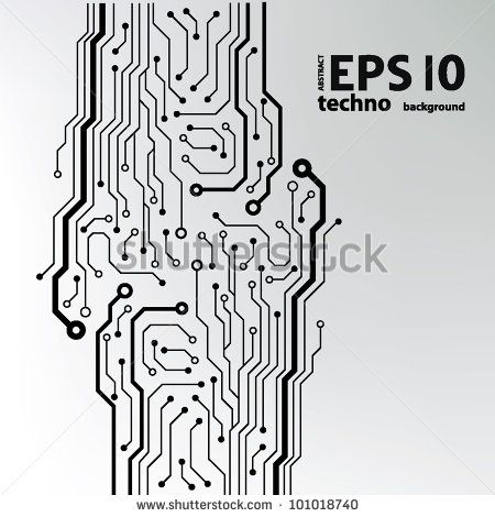 circuit board pattern black-and-white. abstract technology circuit ...