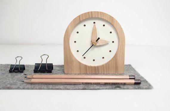 Desk Clock Wooden Desk Clock Gift Desk Decor Husband Desk