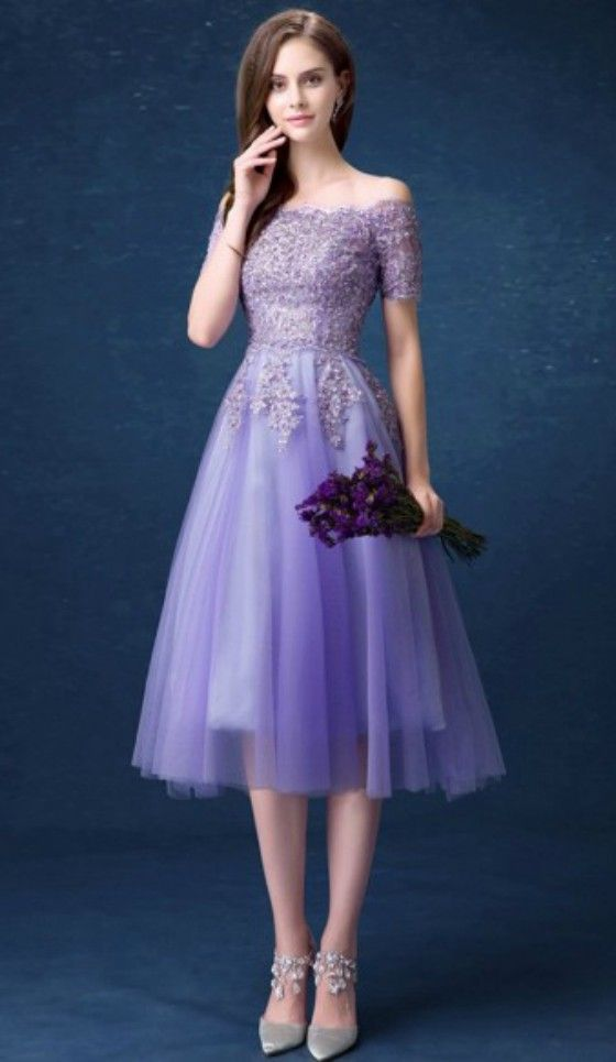 631c450f2f674c Romantic A-line Off-the-shoulder Tea-length Tulle Formal Dress Homecoming Dress  Prom Dress With Beading