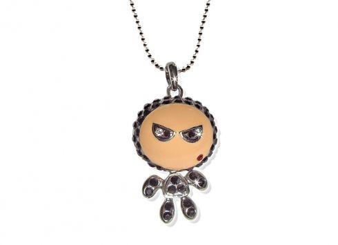 CRYSTAL DOLLY LUI COLLANA NERO. Collana in metallo cromato argento con pupazzino con piccoli cristalli neri della linea CRYSTAL Dolly LUI