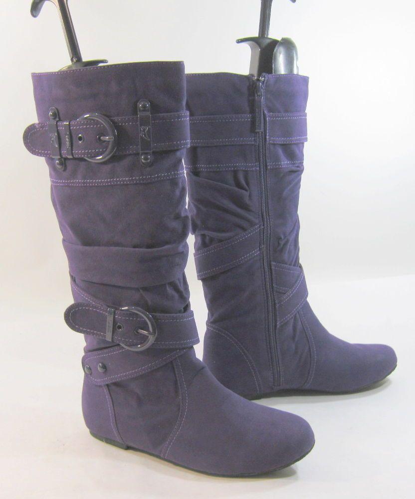 Purple Flat Knee Comfortable Boot Round Toe Side Buckles Us Woman