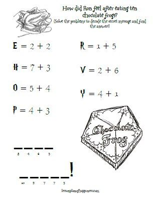 Secret Message Chocolate Frogs Harry Potter Math Worksheet Harry Potter Classroom Harry Potter School Harry Potter Activities