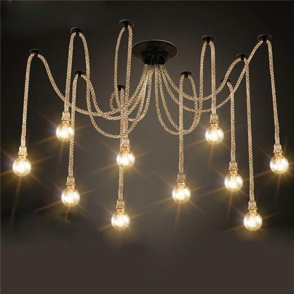 E27 12 Heads Chandeliers Pendant Lights Vintage Hemp Rope Ceiling Lamp Fixture