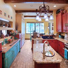 Mexican Southwest Design Ideas Eclectic Kitchen Red Kitchen Cabinets Kitchen Style