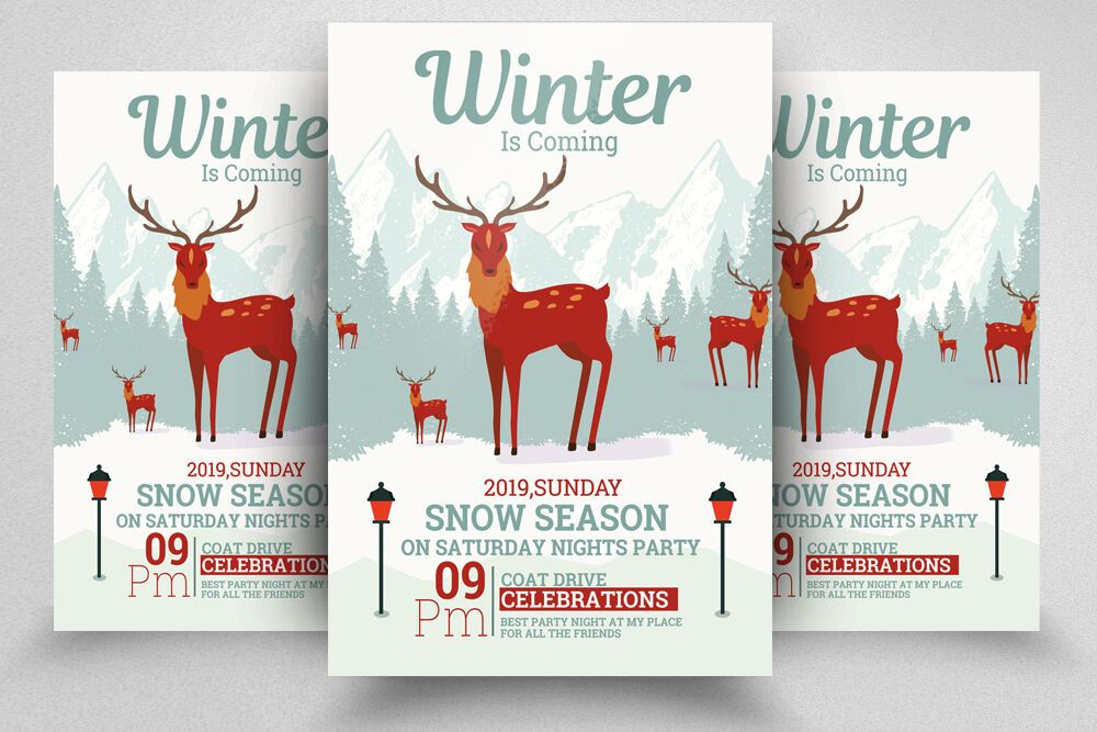 Winter Is Coming Flyer Template By Designhub TheHungryJPEG