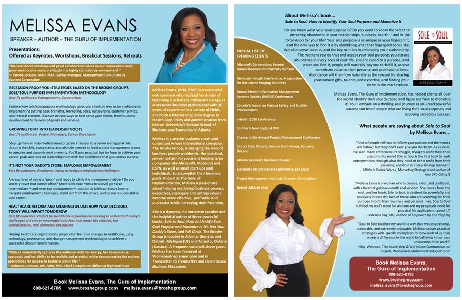 Professional Speaker one sheet samples and graphic design services