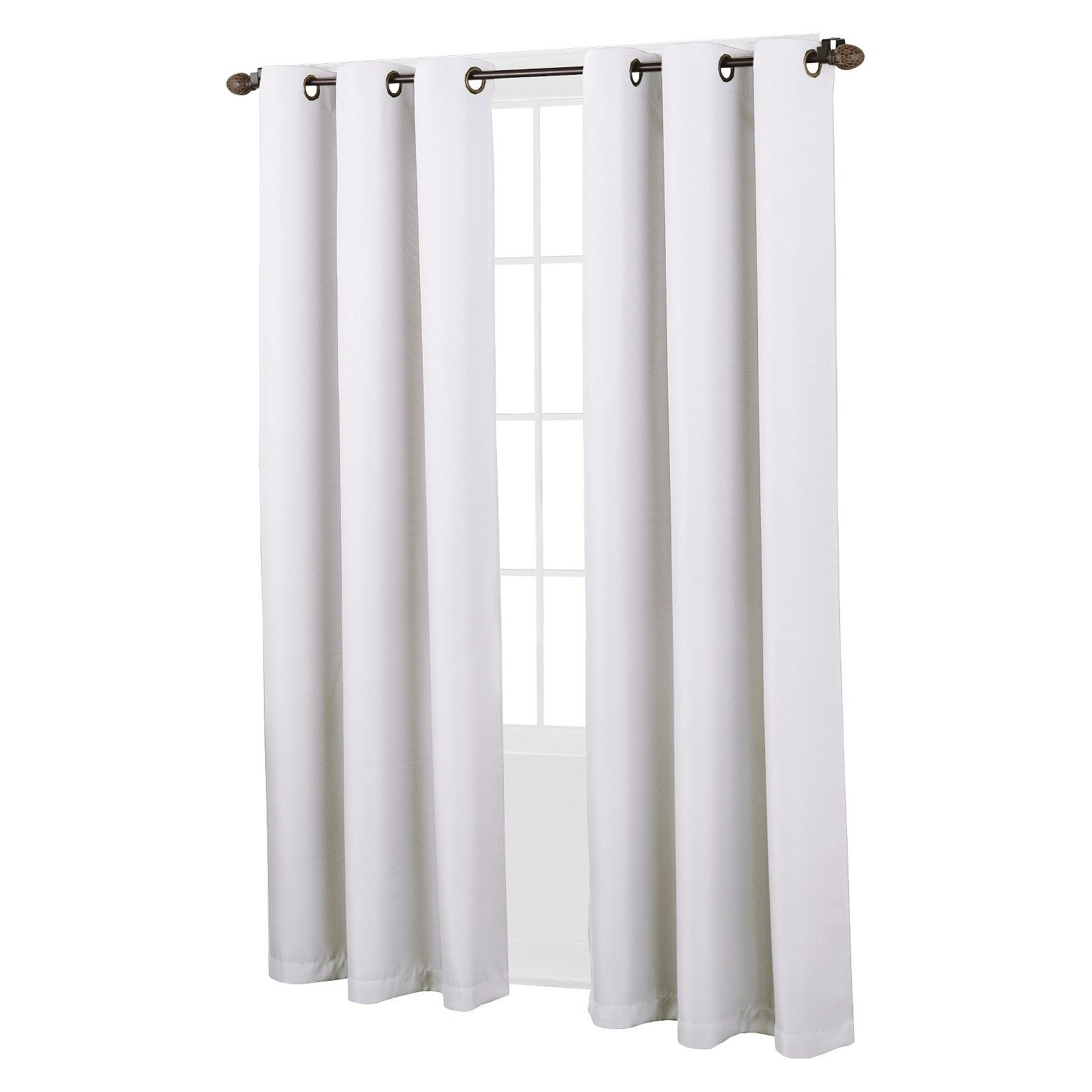 Montego Casual Grommet Top Curtain Panel No 918 White