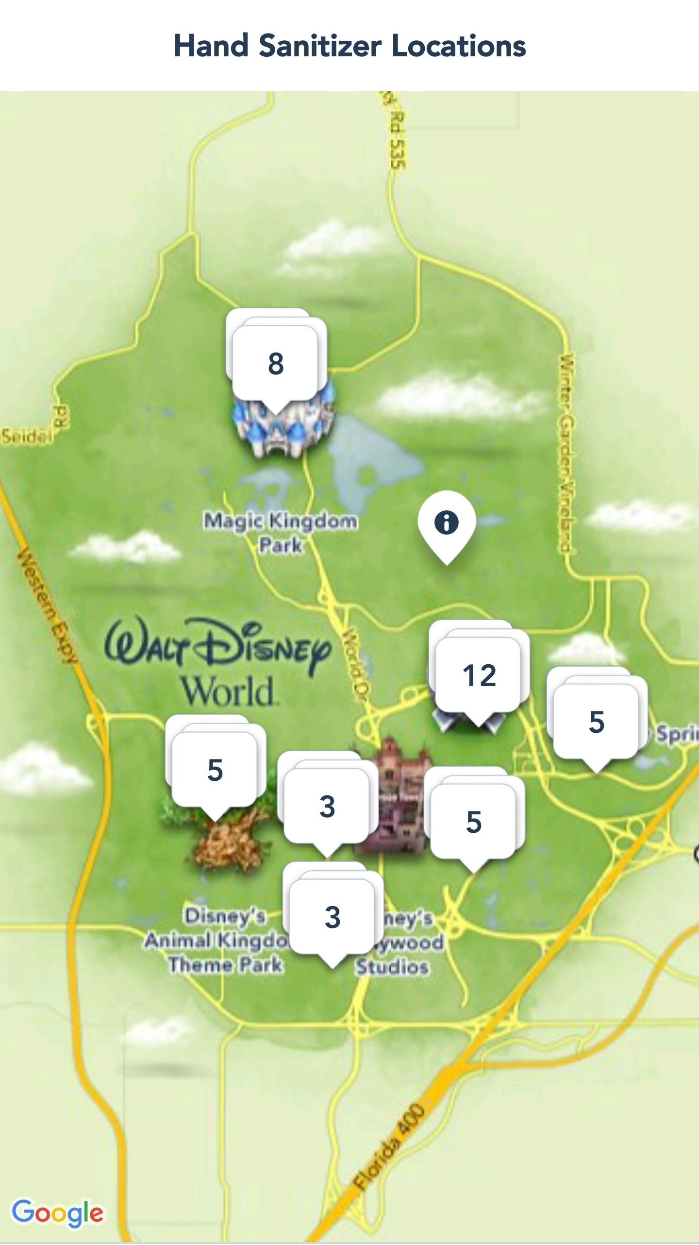 Disney World is now showing Hand Sanitizer Locations on My
