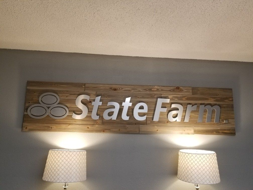My new sign made with reclaimed wood. State farm, Office