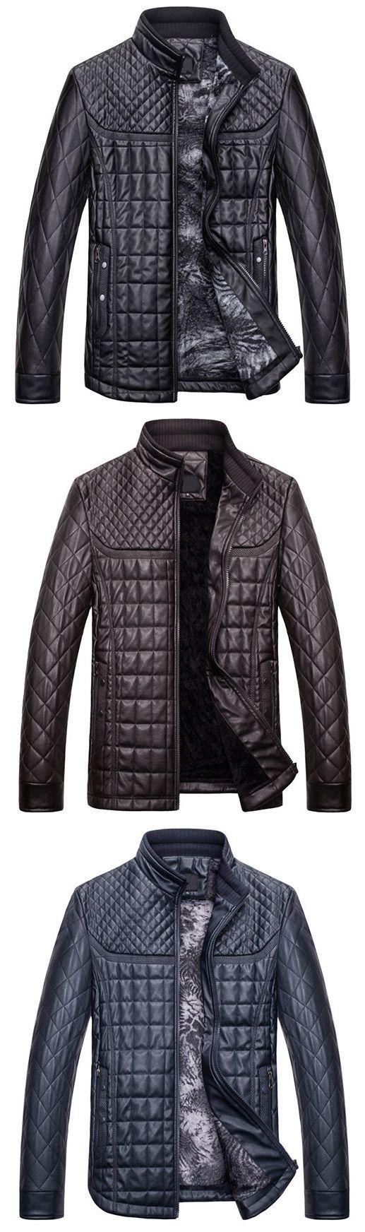 Casual Thicken Fleece Stand Collar Thicken Warm PU Leather