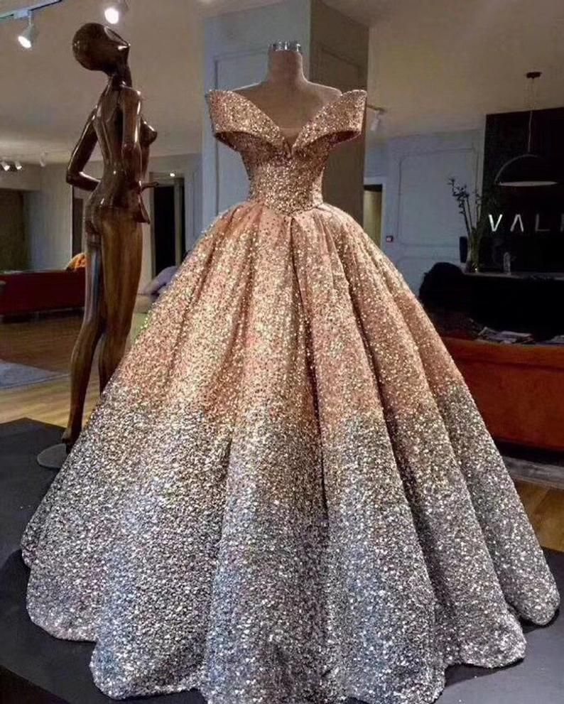Gradient Sequins Lace Fabric By The Yard Evening Dress Etsy In 2020 Strapless Evening Dress Ball Gowns Wedding Ball Gowns