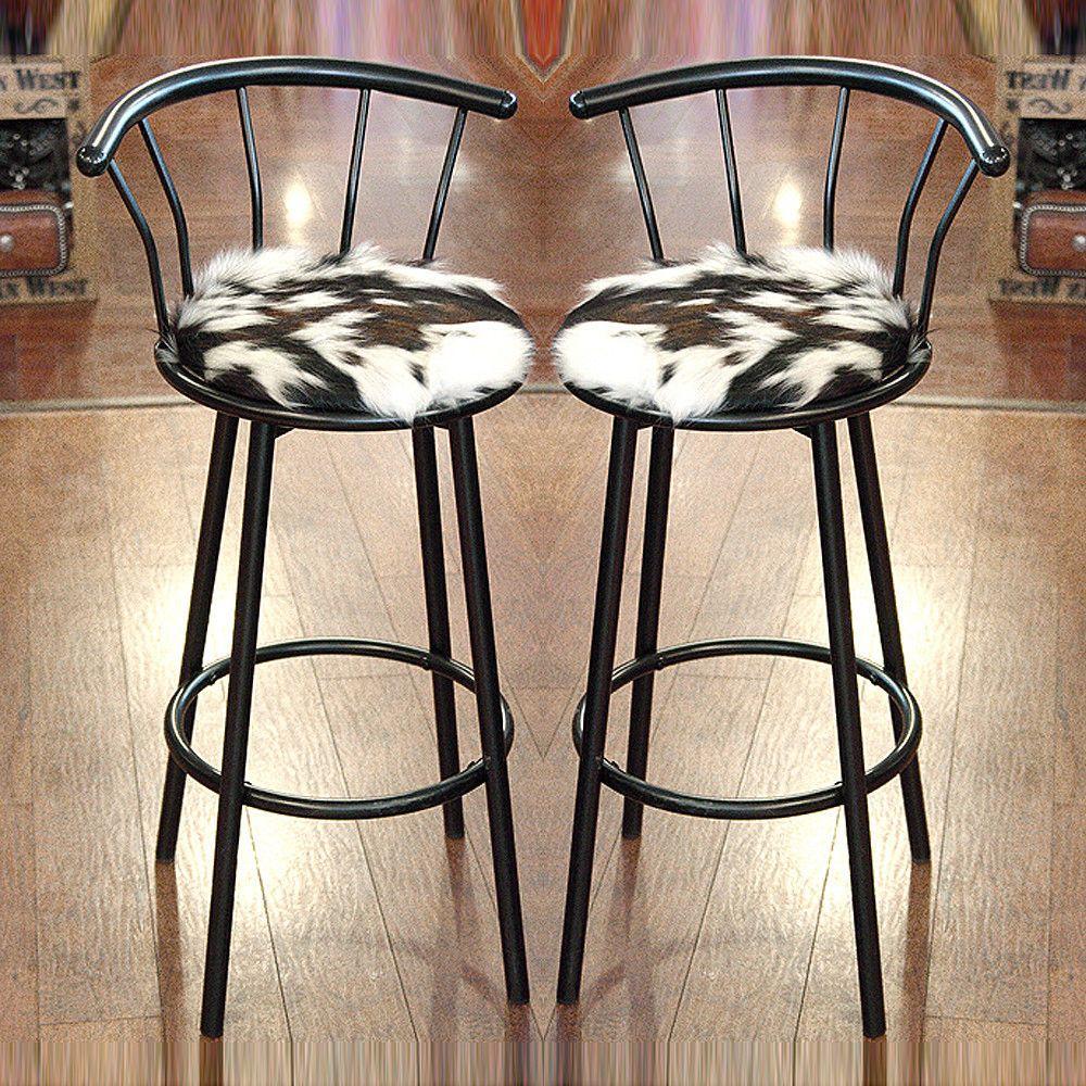 Peachy Western Genuine Leather Cowhide Hair On Bar Stool W Padded Machost Co Dining Chair Design Ideas Machostcouk