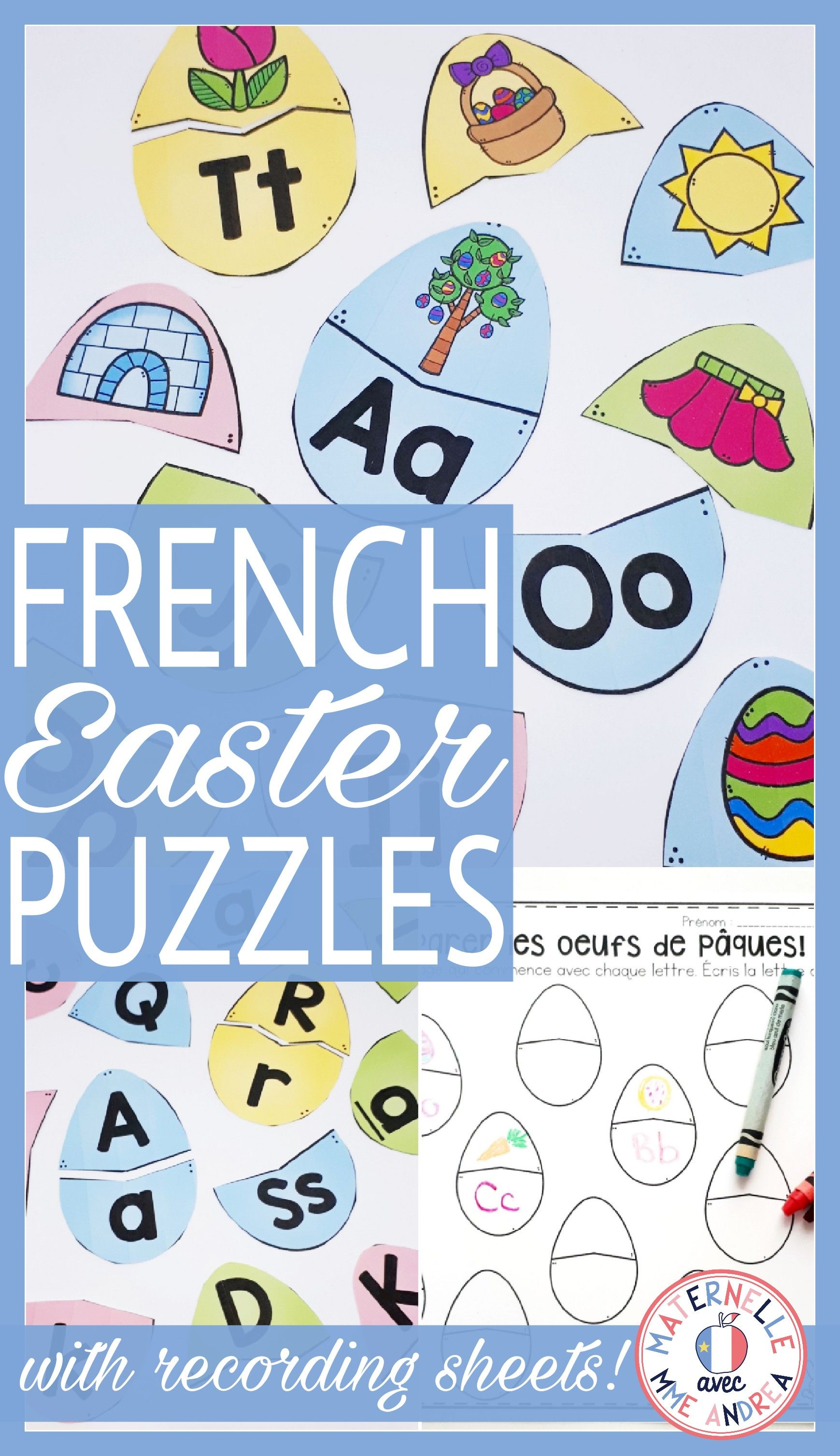 FRENCH Alphabet Easter Literacy Centre Lettres et sons
