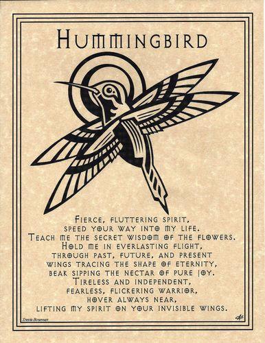 Hummingbird Prayer Poster Animal Spirit Guide Art Celtic Wicca