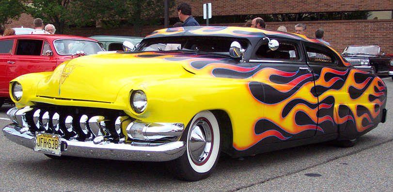 Mercury Leadsled Black And Yellow Flames Custom Car Flames
