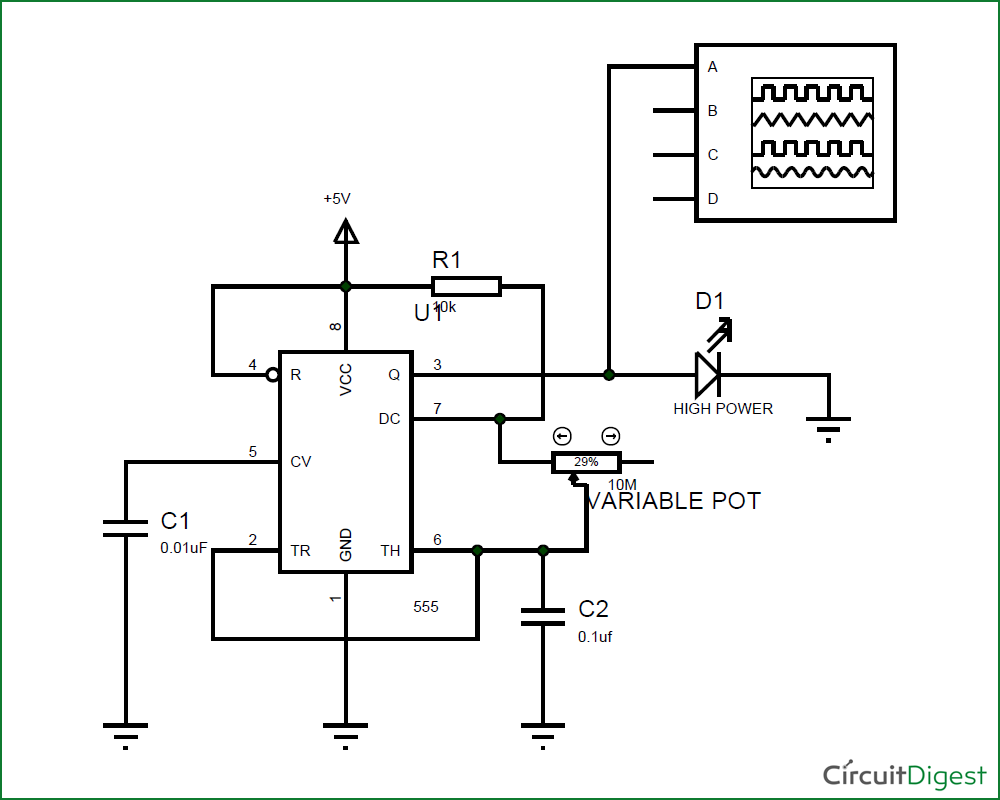 Circuit Diagram For Strobe Light Using 555 Timer IC