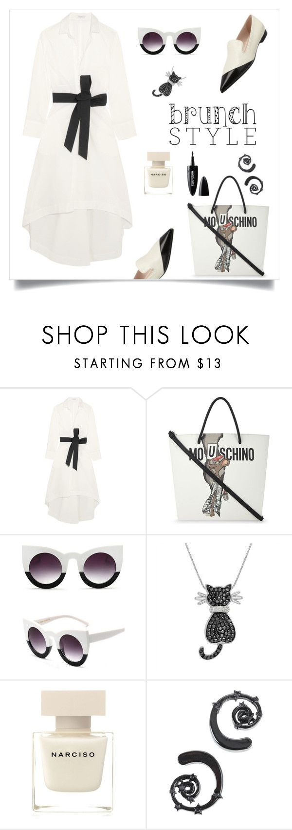 """""""brunch style"""" by tato-eleni ❤ liked on Polyvore featuring Brunello Cucinelli, Moschino, Amanda Rose Collection, Narciso Rodriguez, Hot Topic and Maybelline"""