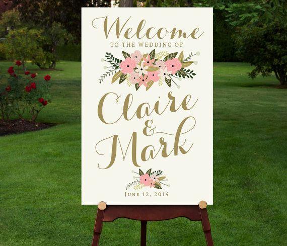 Large Wedding Welcome Sign Vintage Reception Summer Poster