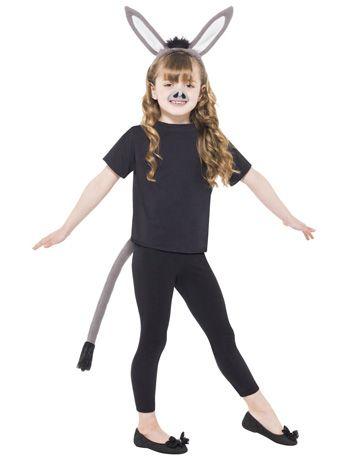 Kids Donkey Fur Tabard Fancy Dress Costume Animal Nativity Book Week Outfit