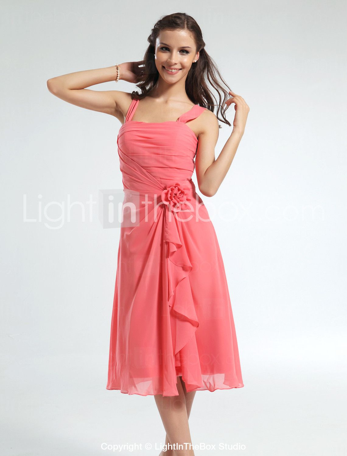 Aline straps knee length chiffon bridesmaid dress with flowers